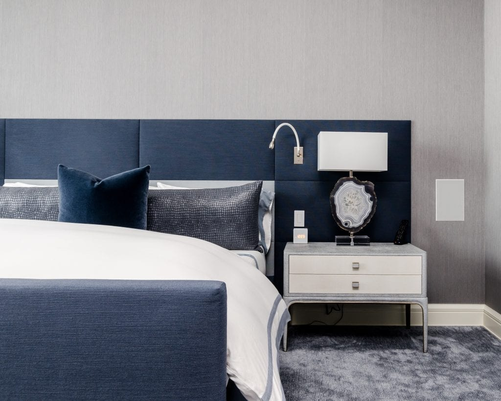 blue and white bedroom with comforter